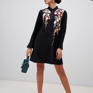 Embroidered Button-down Dress